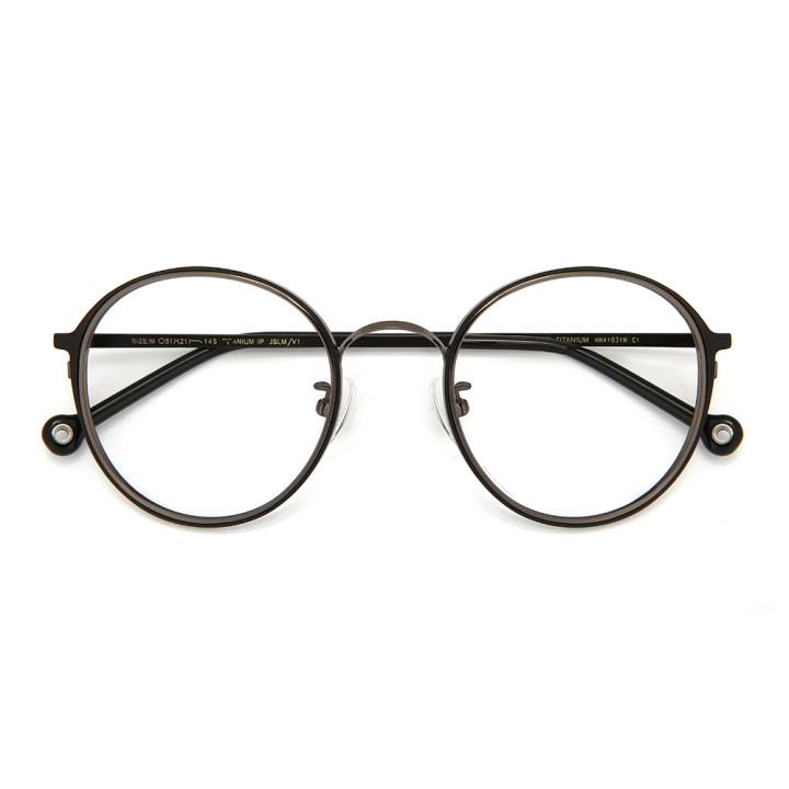 HAN TITANIUM纯钛光学眼镜架HN41031M C1哑黑
