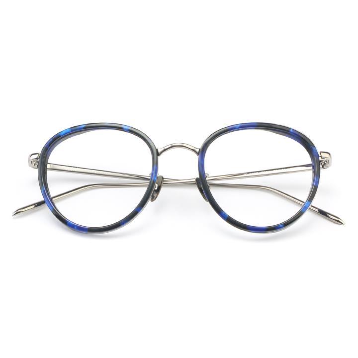 HAN板材金属光学眼镜架-蓝玳瑁(HD49305-F07)