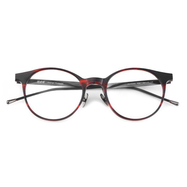 HAN 板材金属光学眼镜架-红玳瑁(HD49303-F03)