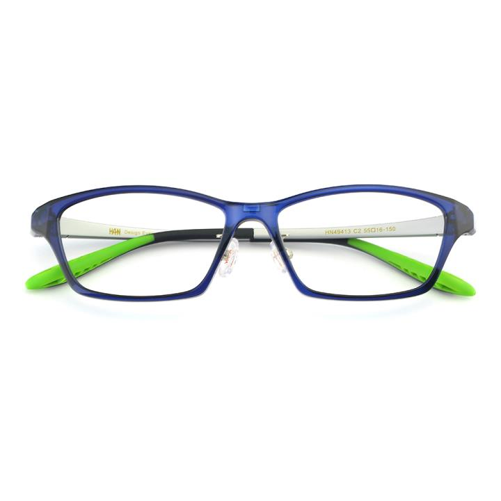 HAN TR光学眼镜架-蓝色(HN49413-C2)(配蓝偏光镜套)
