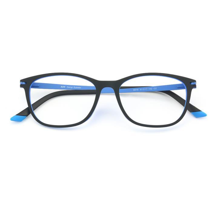 HAN 橡胶钛时尚光学眼镜架-黑蓝色(6015-C2)