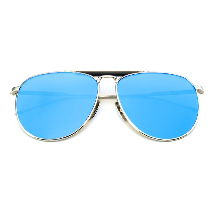 HAN白铜不锈钢防紫外线太阳镜-银框蓝片(HD59121-S09-7)