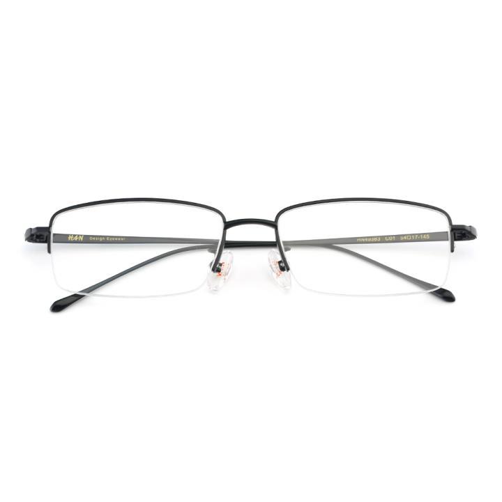 HAN纯钛光学眼镜架-经典纯黑(HN49383-C01)