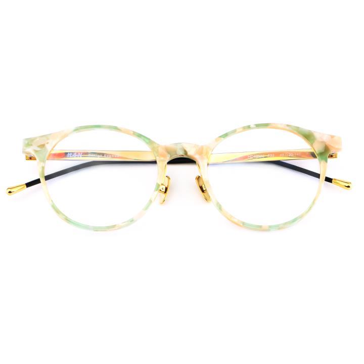 HAN 板材金属光学眼镜架-粉玳瑁(HD49303-F22)