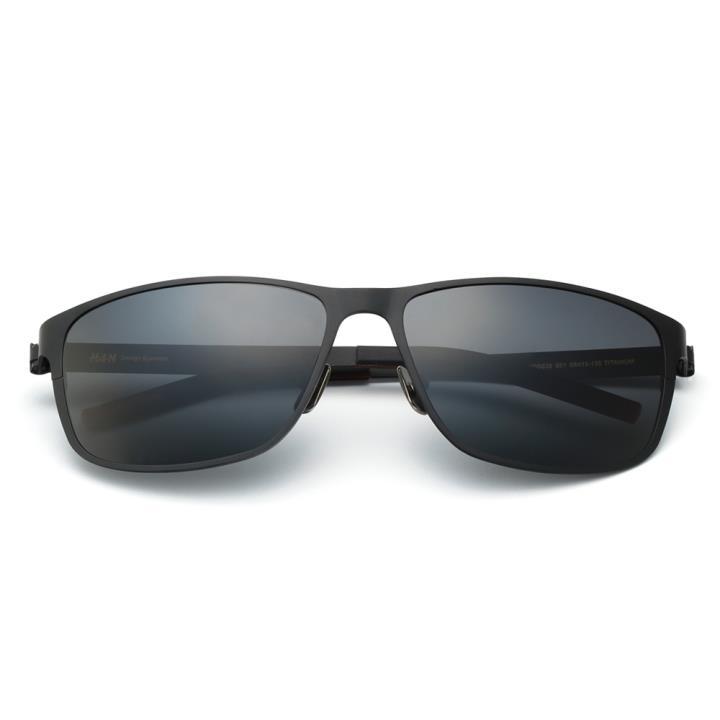 HAN时尚纯钛偏光太阳镜-黑框黑灰片(HD5826-S01)
