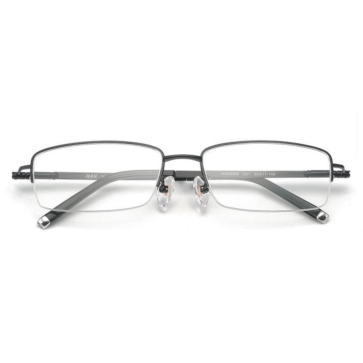 HAN纯钛板材光学眼镜架-哑黑(HN49366-C01)