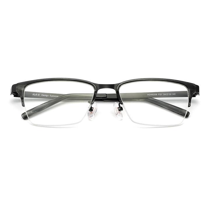 HAN 醋酸纤维不锈钢光学眼镜架-亮黑色(HD49209-F01)