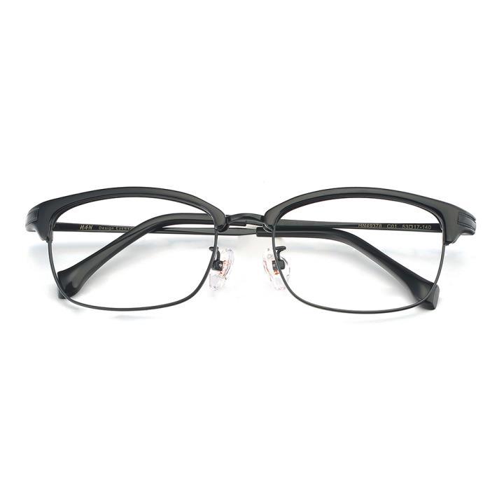 HAN合金PC光学眼镜架-经典亮黑(HN49378-C01)