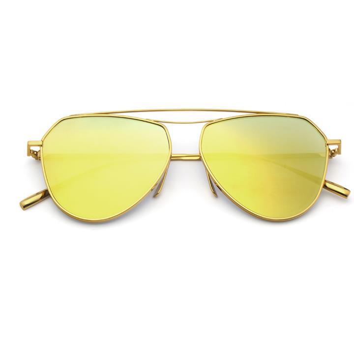 HAN RAZR-X9 白铜不锈钢炫彩太阳眼镜-金框金片(HD59125 S18)
