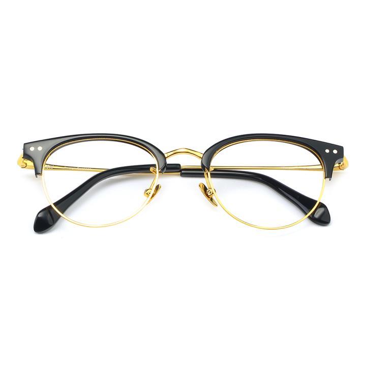HAN板材金属光学眼镜架-亮黑色(HD49306-F01)