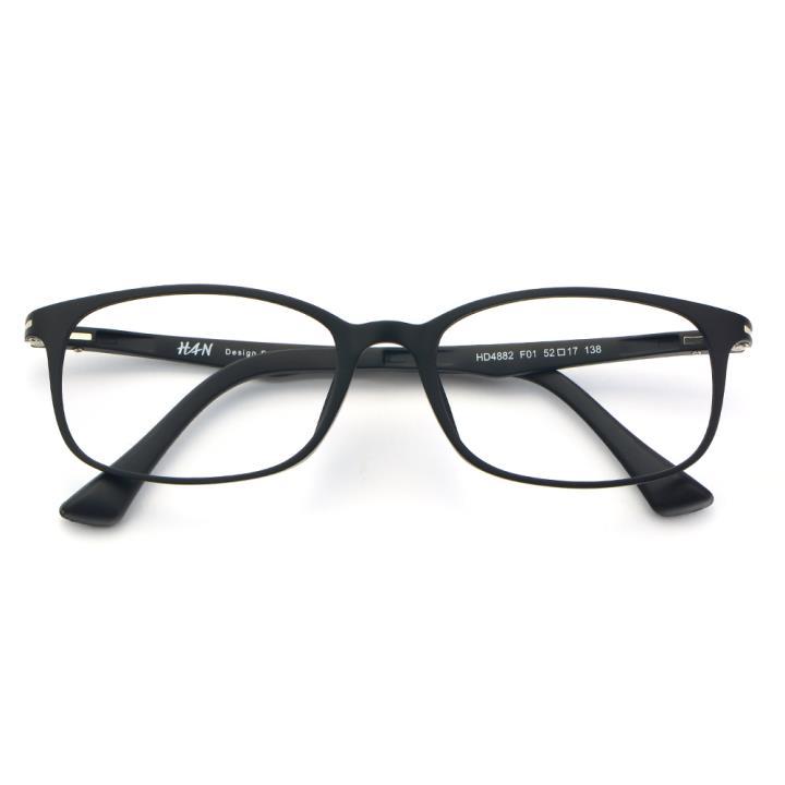HAN塑钢时尚光学眼镜架-经典哑黑(HD4882-F01)