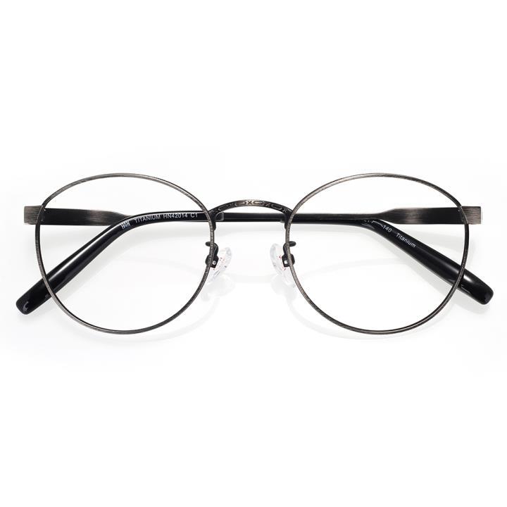 HAN TITANIUM纯钛光学眼镜架HN42014 C1 扫哑黑