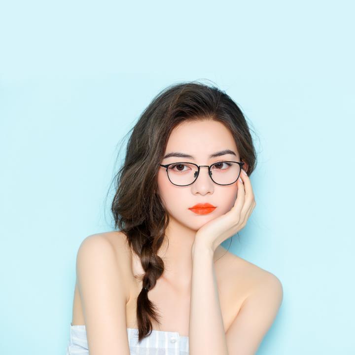 HAN金属光学眼镜架-哑黑大码(HD3312L-F01)大脸适用