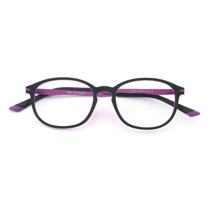 HAN橡胶钛时尚光学眼镜架-黑紫(6012-C3 )