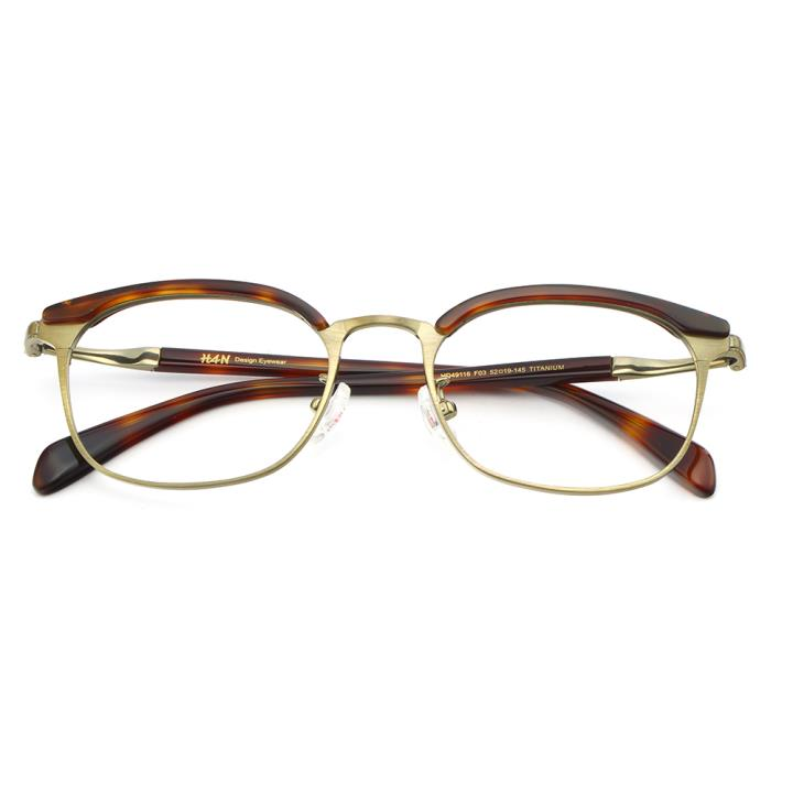 HAN纯钛板材光学眼镜架HD49116-F03典雅玳瑁