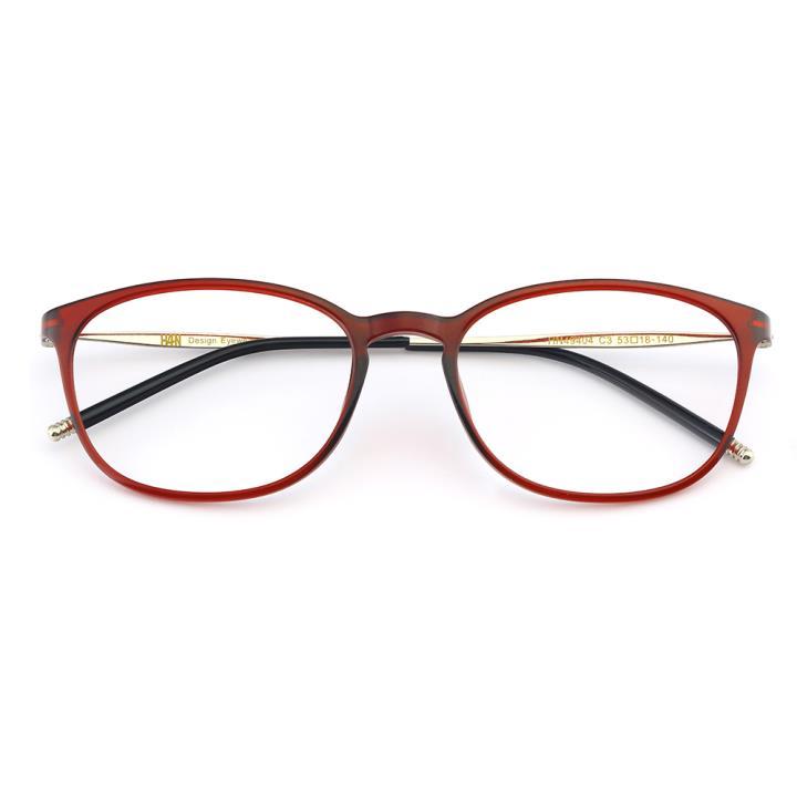 HAN TR不锈钢光学眼镜架-热情酒红(HN49404-C3)