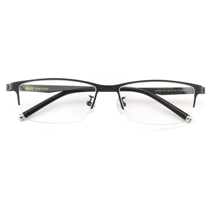 HAN纯钛时尚光学眼镜架HD4866-F01 哑黑