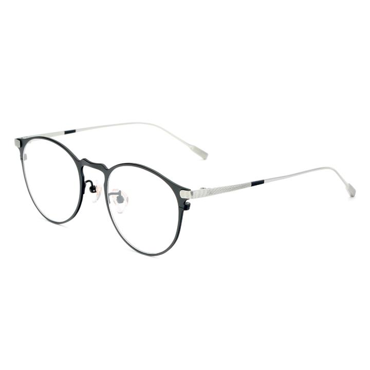 HAN纯钛光学眼镜架-质感黑银(HN49373-C03)