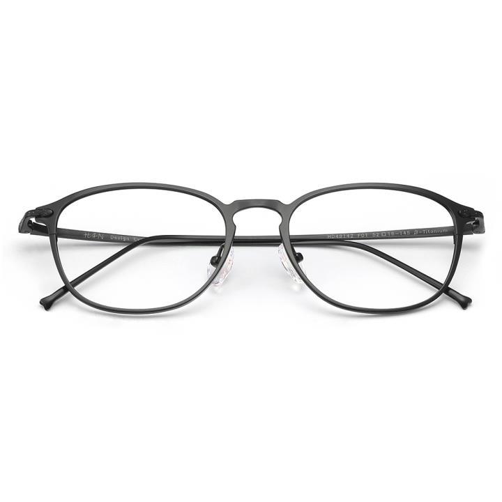 HAN纯钛光学眼镜架-经典哑黑(HD49142-F01)