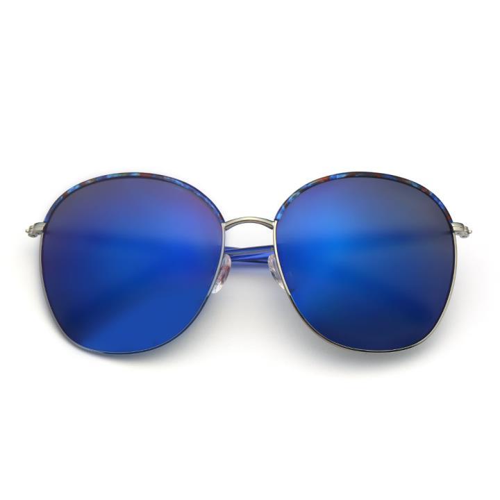 HAN不锈钢白铜防紫外线太阳镜-彩框蓝色片(HD59118-S07)
