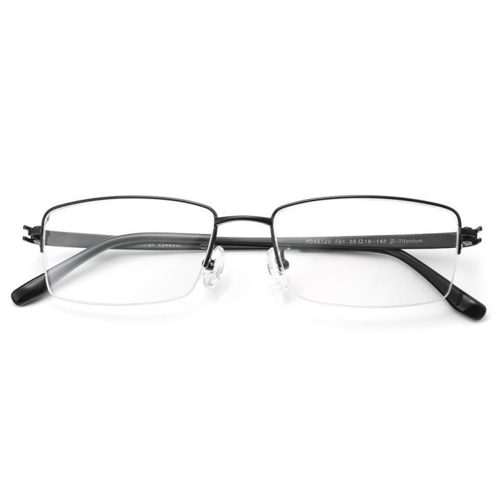 HAN纯钛板材光学镜架-亮黑色(HD49120-F01)