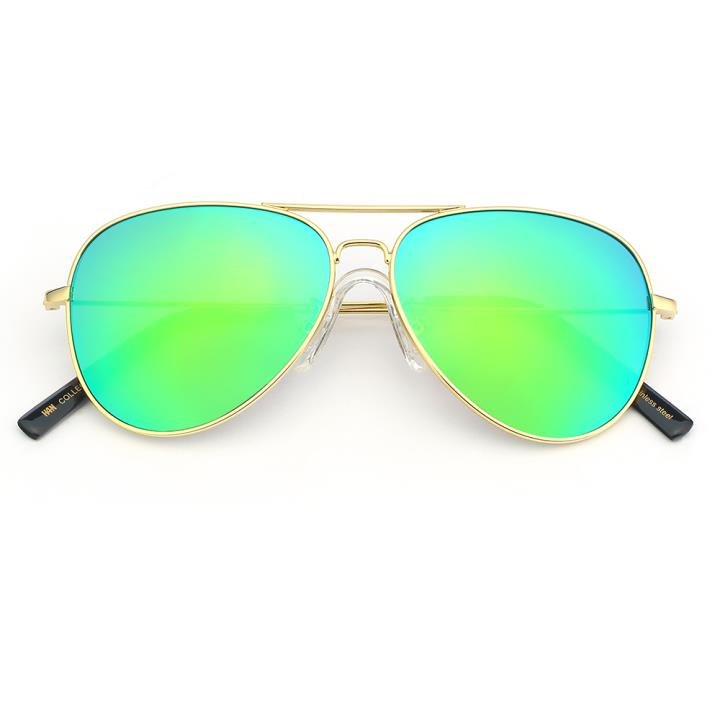 HAN COLLECTION不锈钢儿童太阳眼镜-金框墨绿片(HN52004 C5/M)