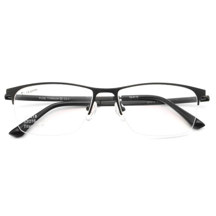 HAN纯钛光学眼镜架J81818-C2-4经典哑黑