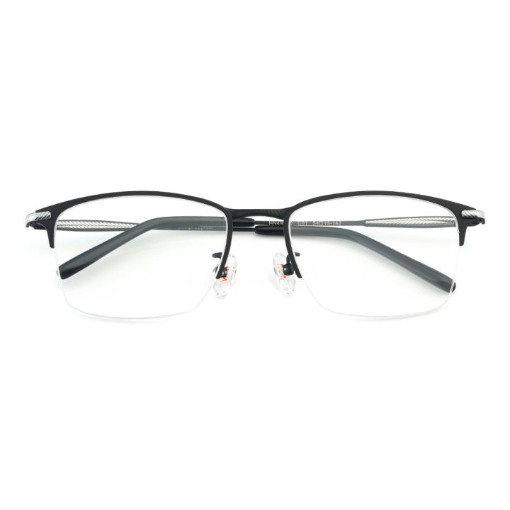 HAN纯钛板材光学眼镜架-亮黑色(HN49370-C01)