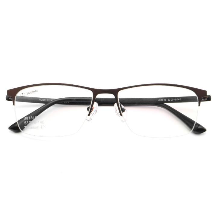HAN纯钛光学眼镜架J81818-C2-9炫酷哑棕