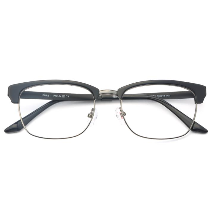 HAN纯钛板材光学眼镜架-黑枪色(J82198-C3)