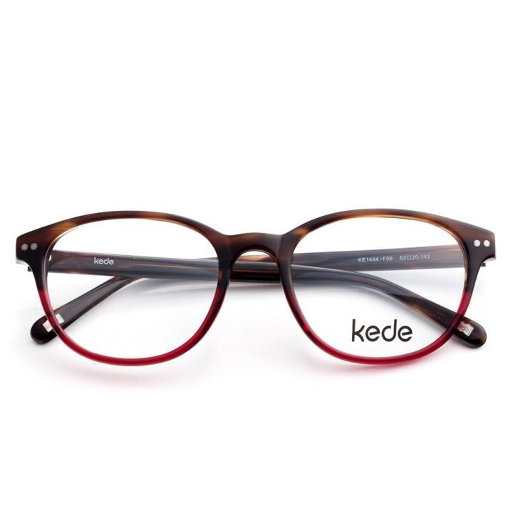 Kede时尚光学眼镜架Ke1444-F06  上啡条纹下透红色