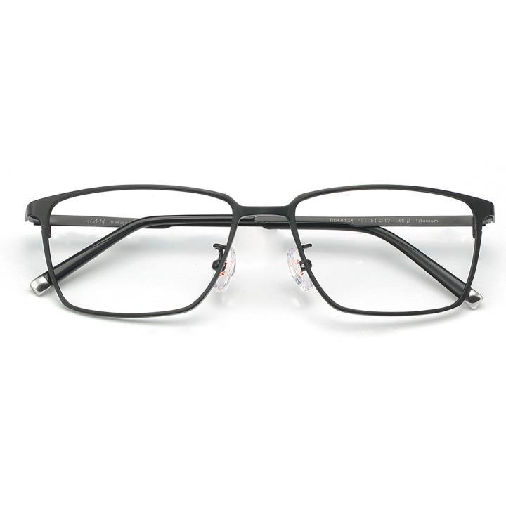 HAN纯钛板材光学眼镜架-哑黑色(HD49124-F01)