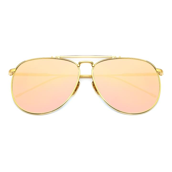 HAN白铜不锈钢防紫外线太阳镜-金框粉片(HD59121-S18-6)