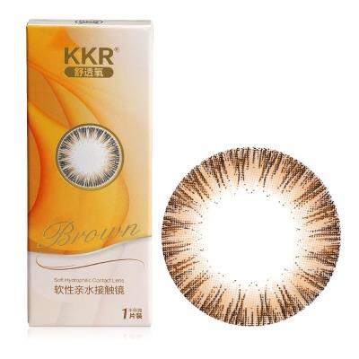 KKR 舒透氧彩色隐形眼镜半年抛1片装-轻羽自然(棕色)
