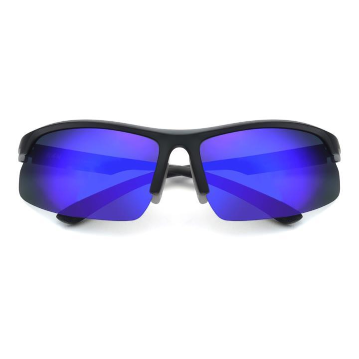 HAN TR偏光太阳镜-黑银框炫彩蓝片(HN59413-C2)