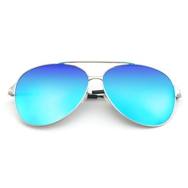 HAN不锈钢偏光太阳镜-银框蓝色片(HD5814-S07)