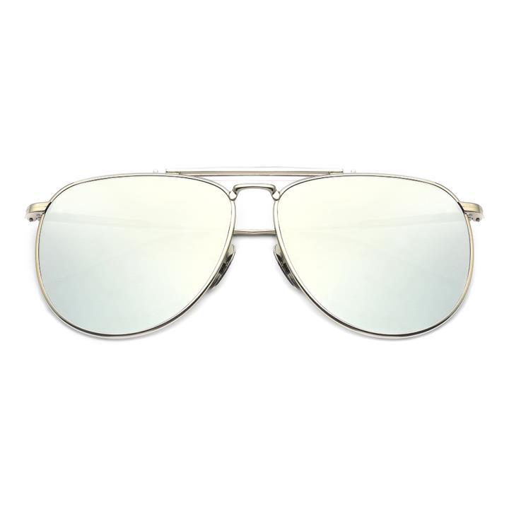 HAN白铜不锈钢防紫外线太阳镜-银框银片(HD59121-S09 )