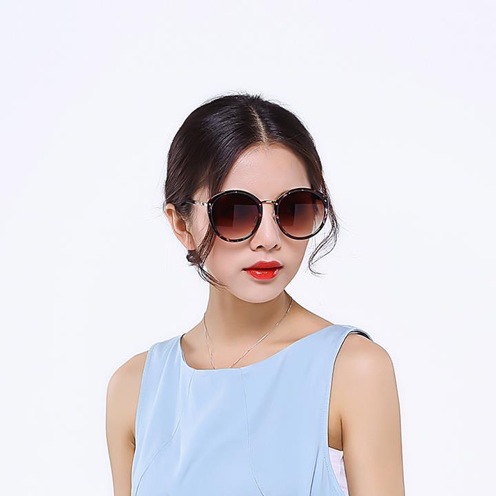 HAN时尚防紫外线太阳镜HD59301-S06 点红框渐进茶片
