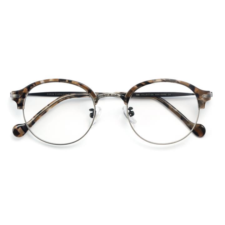 HAN COLLECTION板材金屬光學眼鏡架-灰玳瑁(HN41009M C4)