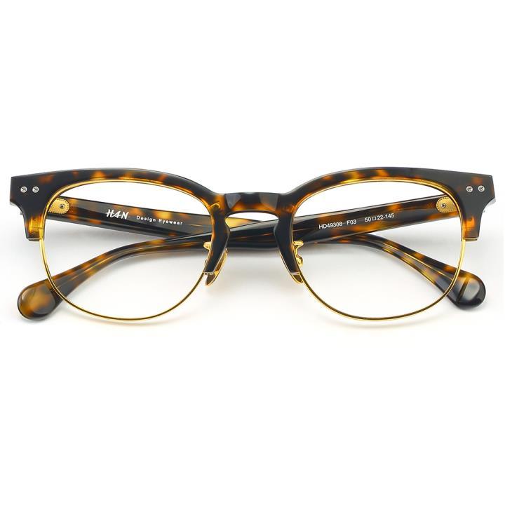 HAN板材金属光学眼镜架-玳瑁色(HD49308-F03)