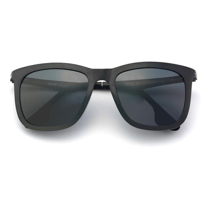 HAN时尚偏光太阳镜-黑框黑灰片(HD5838-S01)