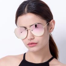 HAN 不锈钢防UV太阳眼镜-金框粉色片(HN52017L C5)