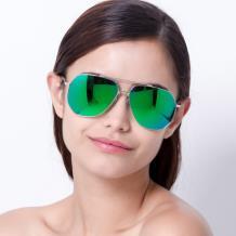 HAN SUNGLASSES防UV太阳眼镜HN52019L C4 银框镀膜绿色片