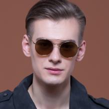 HAN时尚不锈钢偏光太阳镜-金框棕色片(HD59318-C3)
