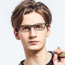 HAN 塑鋼時尚光學眼鏡架-氣質深灰(HN49403-C1)