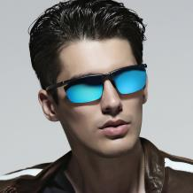 HAN SUNGLASSES铝镁合金偏光运动太阳眼镜-枪框蓝片(HN51012L C2)