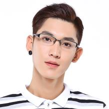 HAN纯钛光学眼镜架-亮黑大码(HD4830L-F01)大脸适用
