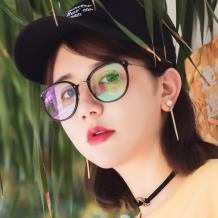 HAN醋酸纤维不锈钢光学眼镜架-经典亮黑(HD49208-F01)