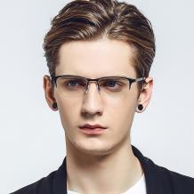 HAN 不锈钢板材光学眼镜架-亮黑色(HD49210-F01)