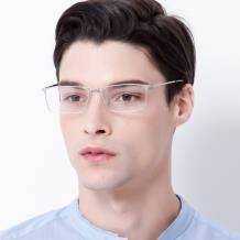 HAN 不锈钢光学眼镜架-高雅银色(HD49221-C4)